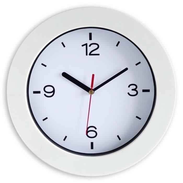 aucune horloge a piles easyclock 25 cm blanc 309734. Black Bedroom Furniture Sets. Home Design Ideas