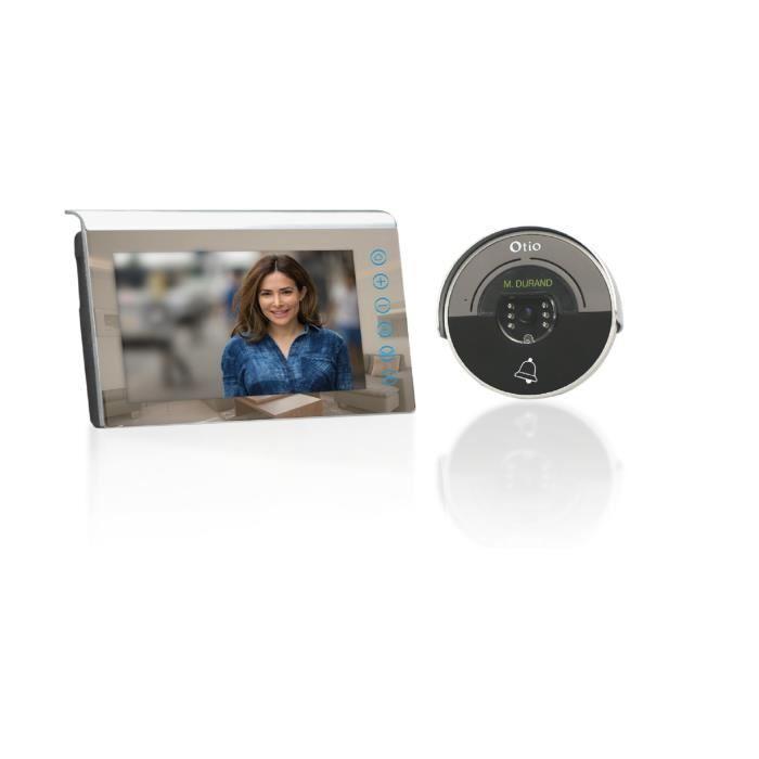 visiophone 2 fils ecran couleur 7 pouces lcd effet miroir avec memoire interne 398976. Black Bedroom Furniture Sets. Home Design Ideas