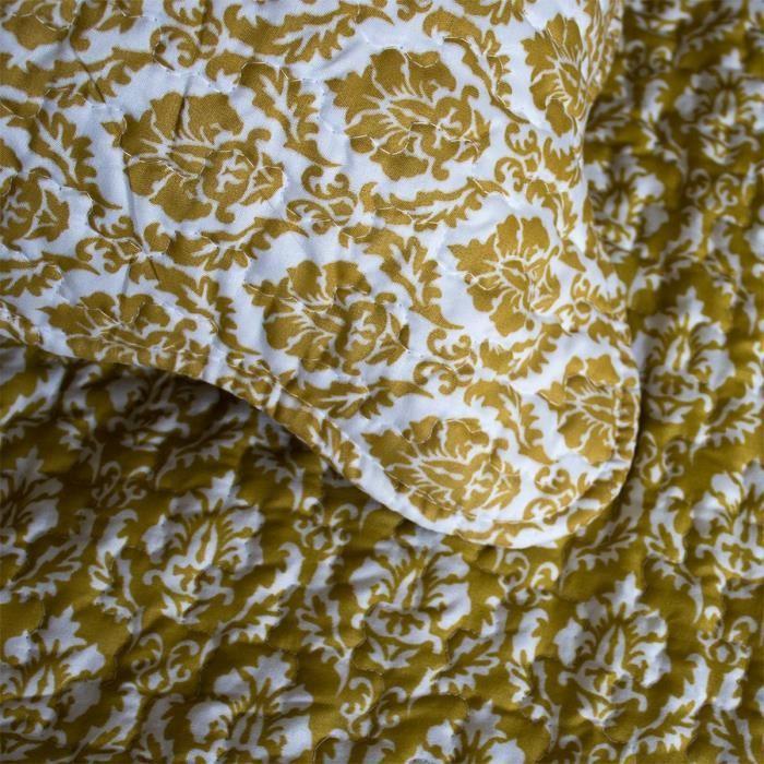 couvre lit ocre PAVILLON D'INTERIEUR Couvre lit boutis Messaline 250x270 cm + 2  couvre lit ocre