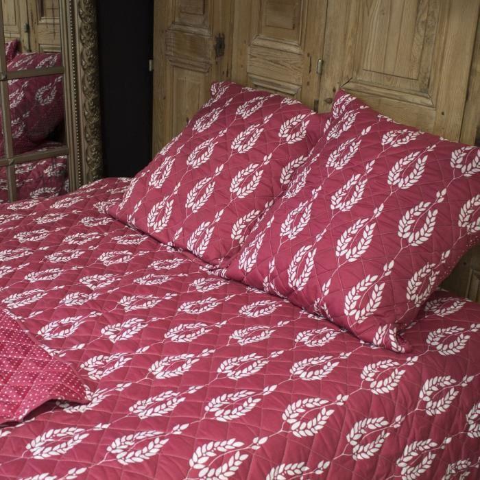 pavillon d 39 interieur couvre lit boutis scarlett 230x250 cm 2 taies d 39 oreiller 65x65 cm rouge. Black Bedroom Furniture Sets. Home Design Ideas