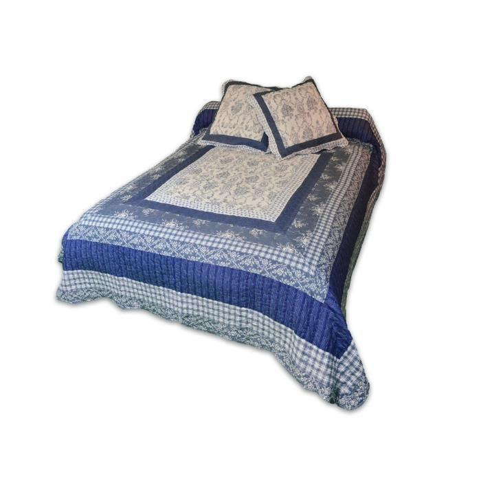 soleil d 39 ocre couvre lit boutis odile 220x240cm avec 2. Black Bedroom Furniture Sets. Home Design Ideas