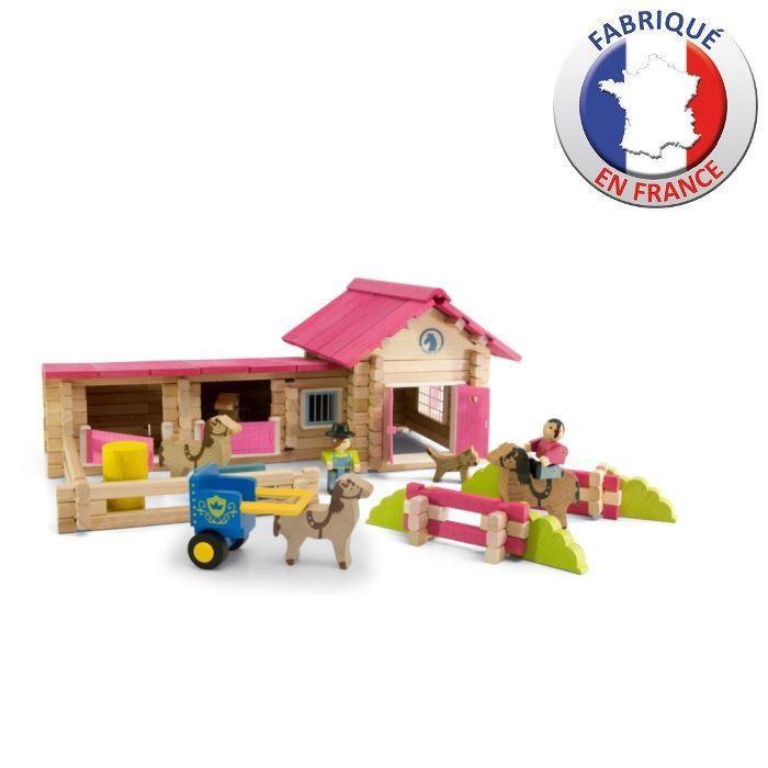 Jeujura le poney club en bois jeux de construction for Jeu de construction en bois 4 ans
