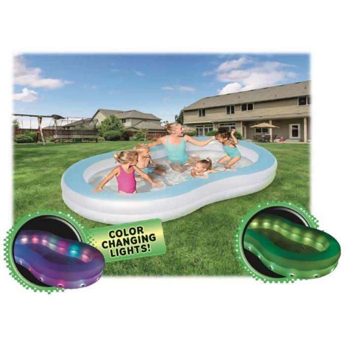grande piscine gonflable enfant familiale a led 305 180 cm bestway eclairage a led 355919. Black Bedroom Furniture Sets. Home Design Ideas