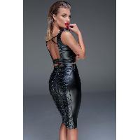 Jupes sexy Noir Handmade - Jupe Effet Mouille avec Lacages F152 - L - Noir