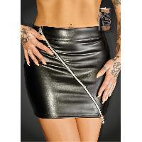 Jupes sexy Noir Handmade - Mini Jupe avec Zip Ruler F126 - M