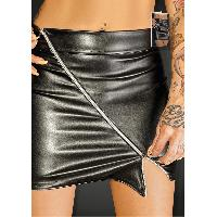 Jupes sexy Noir Handmade - Mini Jupe avec Zip Ruler F126 - XL