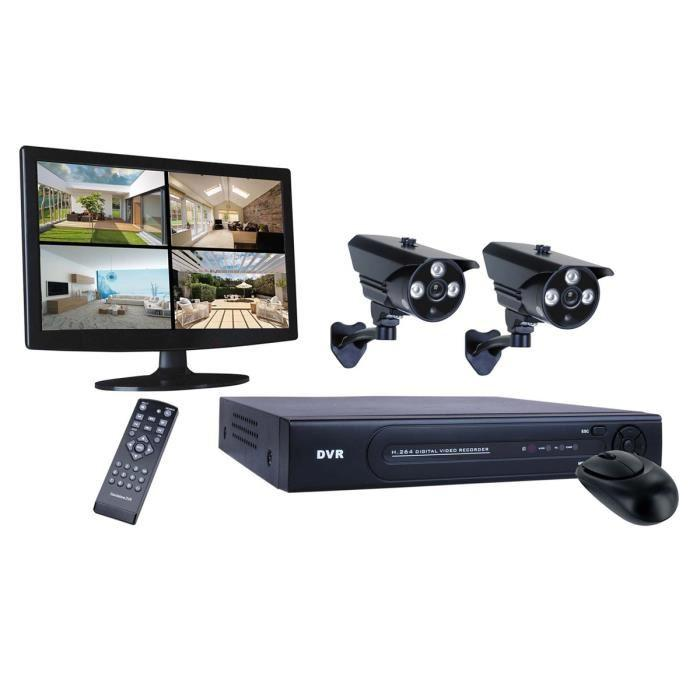 smartwares kit de surveillance dvr724s filaire hd 720 pixels avec enregistreur 4 canaux cran. Black Bedroom Furniture Sets. Home Design Ideas