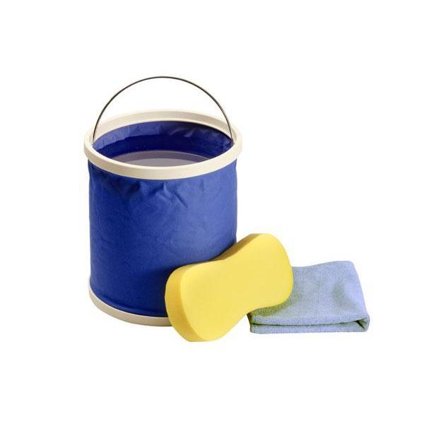 Kit de nettoyage - seau pliable eponge et chiffon