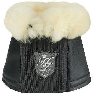 Kit Securite - Protection Horze - Cloches Salerno Hamptons pour chevaux - cuir synthetique et mouton veritable - Taille S - Noir