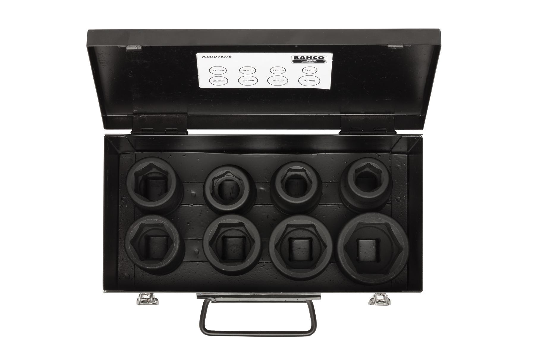 kit 8 douilles a chocs pour cle a cliquet avec boite en metal 296855. Black Bedroom Furniture Sets. Home Design Ideas