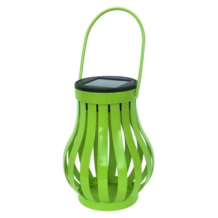Galix galix lampe de table solaire vase en m tal vert for Vase solaire exterieur