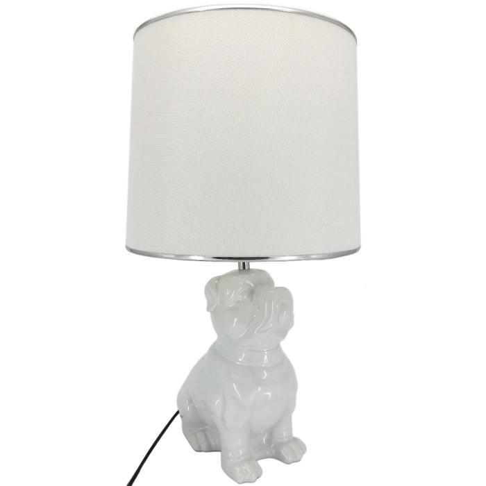 lampe a poser en ceramique forme chien hauteur 57 cm avec abat jour diametre 30 cm e27 15w blanc. Black Bedroom Furniture Sets. Home Design Ideas