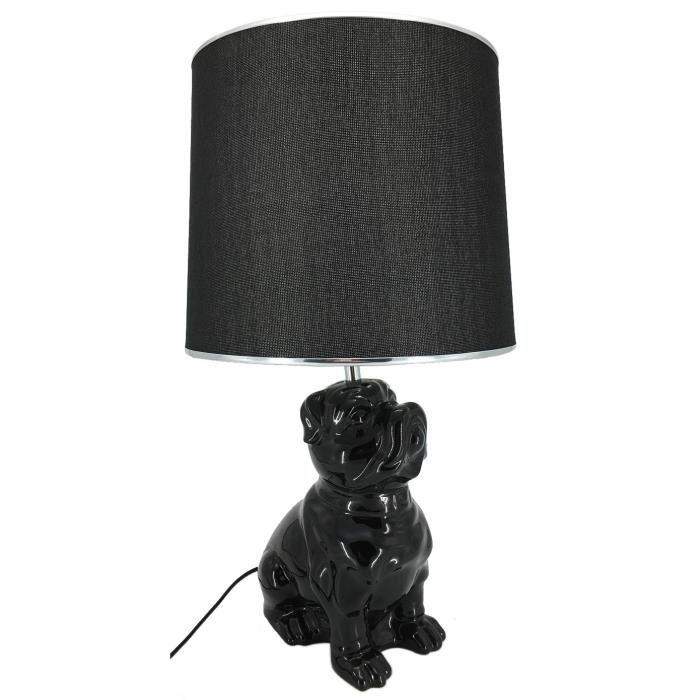 lampe a poser en ceramique forme chien hauteur 57 cm avec abat jour diametre 30 cm e27 15w noir. Black Bedroom Furniture Sets. Home Design Ideas
