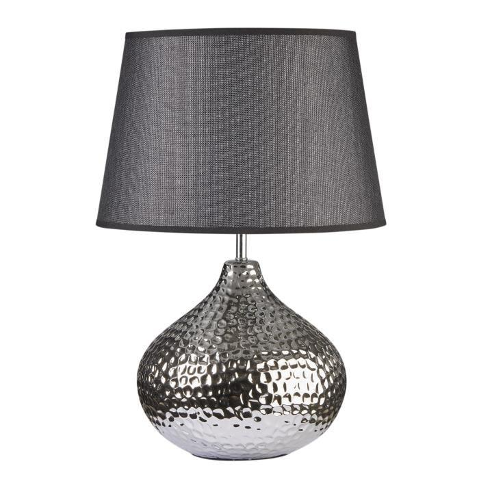 lampe a poser en c ramique forme sphere hauteur 51 cm avec abat jour diametre 34 cm e27 15w. Black Bedroom Furniture Sets. Home Design Ideas