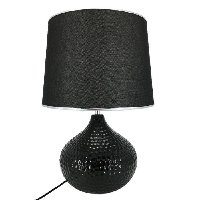 lampe a poser en ceramique forme sphere hauteur 51 cm avec abat jour diametre 34 cm e27 15w noir. Black Bedroom Furniture Sets. Home Design Ideas