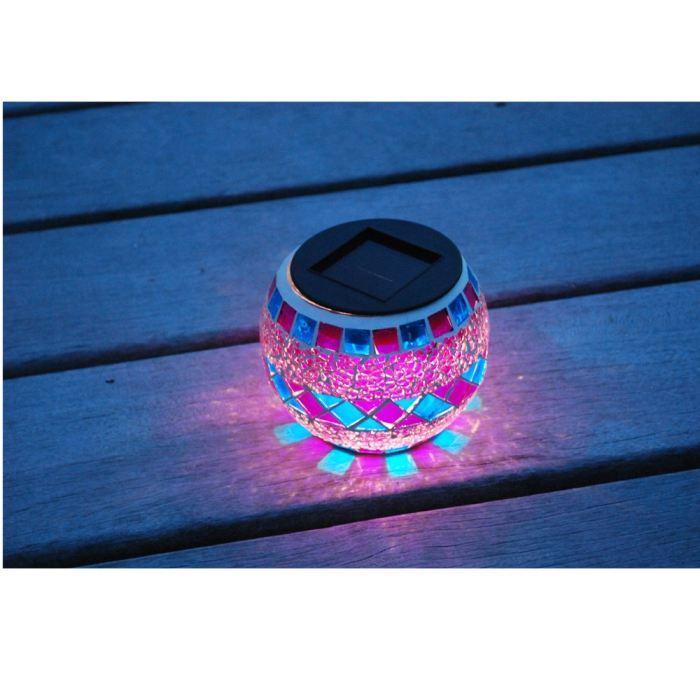 galix lanterne solaire decorative verre effet mosaique 314998. Black Bedroom Furniture Sets. Home Design Ideas