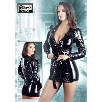 Latex et vinyle Black Level - Manteau court et mini robe en vinyle - Noir - Taille L
