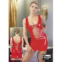 Latex et vinyle Black Level - Robe rouge courte ouverte - Taille L