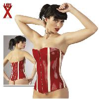 Latex et vinyle LateX - Corsage rouge et blanc en latex - Taille XXL
