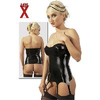 Latex et vinyle LateX - Guepiere noire en latex - Taille L