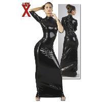 Latex et vinyle LateX - Robe longue en latex noir - Taille M