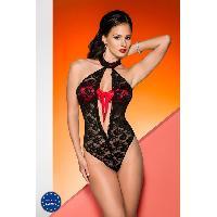 Lingerie sexy Avanua - Body Rika rouge et noir - L-XL