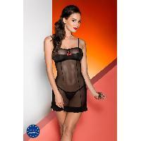 Lingerie sexy Avanua - Nuisette et String Celia noir - L-XL