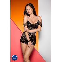 Lingerie sexy Avanua - Nuisette et String Timea Noir - L-XL