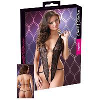 Lingerie sexy Cottelli - Body en dentelle et strass - Noir - Taille S/M