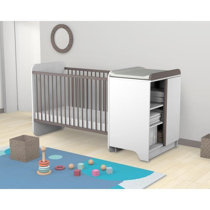 at4 at4 lit bebe combine beige taupe 265290. Black Bedroom Furniture Sets. Home Design Ideas