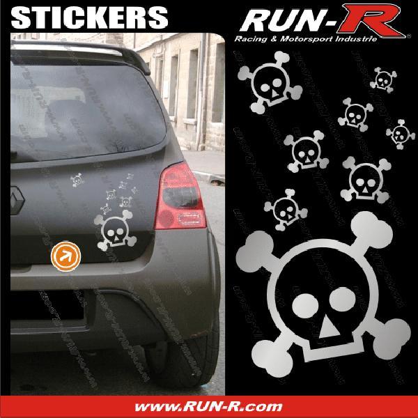 Lot stickers tete de mort SKULL RAIN format A4 - ARGENT
