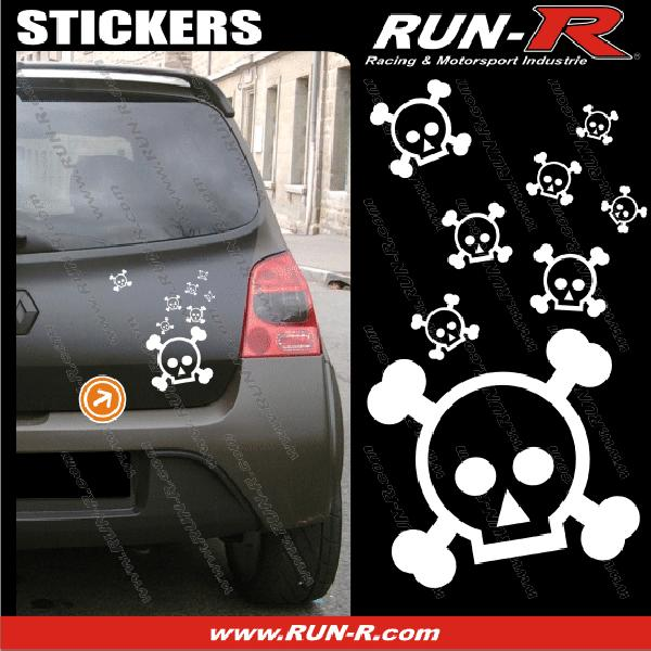 Lot stickers tete de mort SKULL RAIN format A4 - BLANC