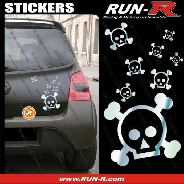 Lot stickers tete de mort SKULL RAIN format A4 - CHROME