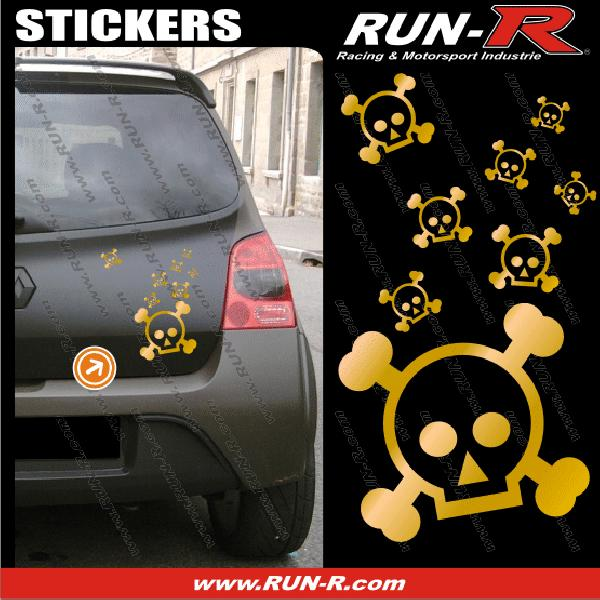 Lot stickers tete de mort SKULL RAIN format A4 - DORE