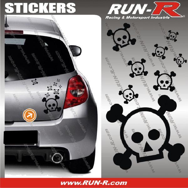 Lot stickers tete de mort SKULL RAIN format A4 - NOIR