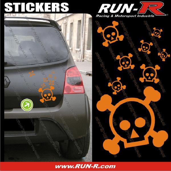 Lot stickers tete de mort SKULL RAIN format A4 - ORANGE