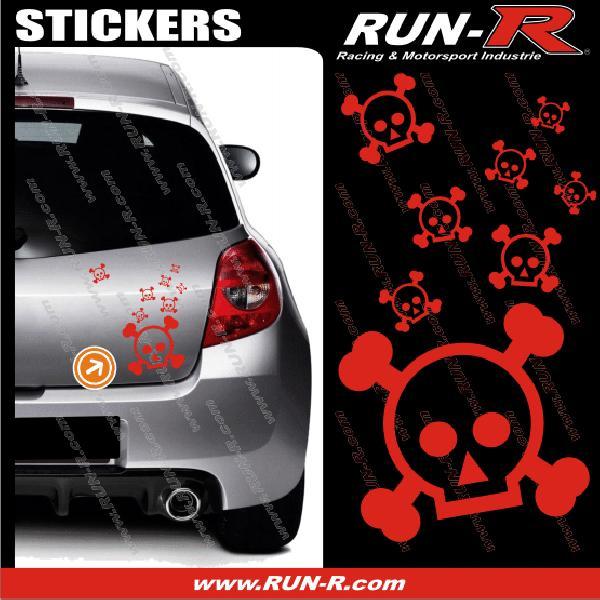 Lot stickers tete de mort SKULL RAIN format A4 - ROUGE