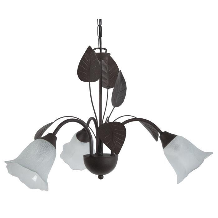 Aucune glantine lustre suspension fer forge 3 lum noir for Suspension en fer noir