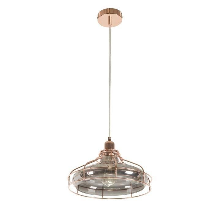 Aucune suspension en verre et metal 27x120 cm e27 40 w for Lustre en suspension
