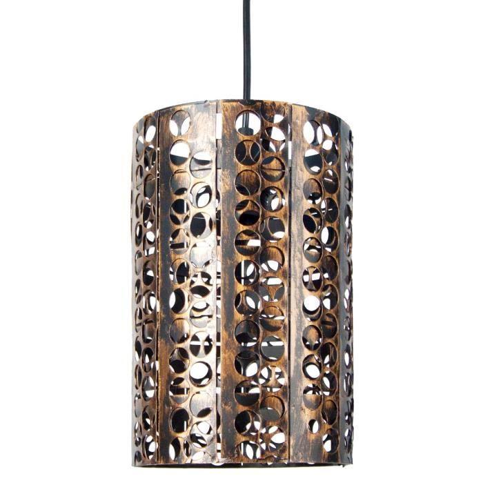 aucune suspension metal perfore forme cylindrique marron 265448. Black Bedroom Furniture Sets. Home Design Ideas