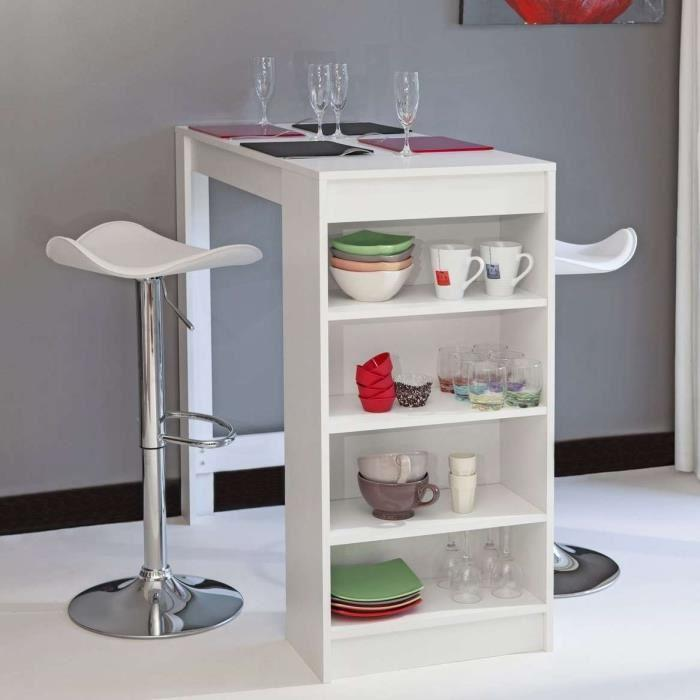 Aucune chili table bar avec rangements lateraux blanc 247143 for Table bar cuisine