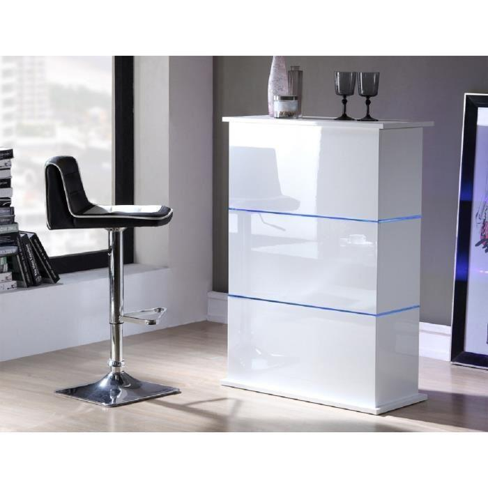 Flash table bar 80x34x110 cm laqu blanc brillant avec led bleu 315407 - Table mange debout blanc laque ...