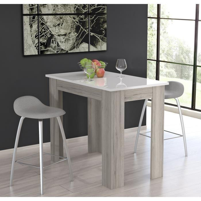 Finlandek table de bar tietti 120x70cm blanc brillant et for Table haute cuisine mange debout