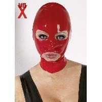 Masquer LateX - Cagoule ouverte rouge en latex - TU