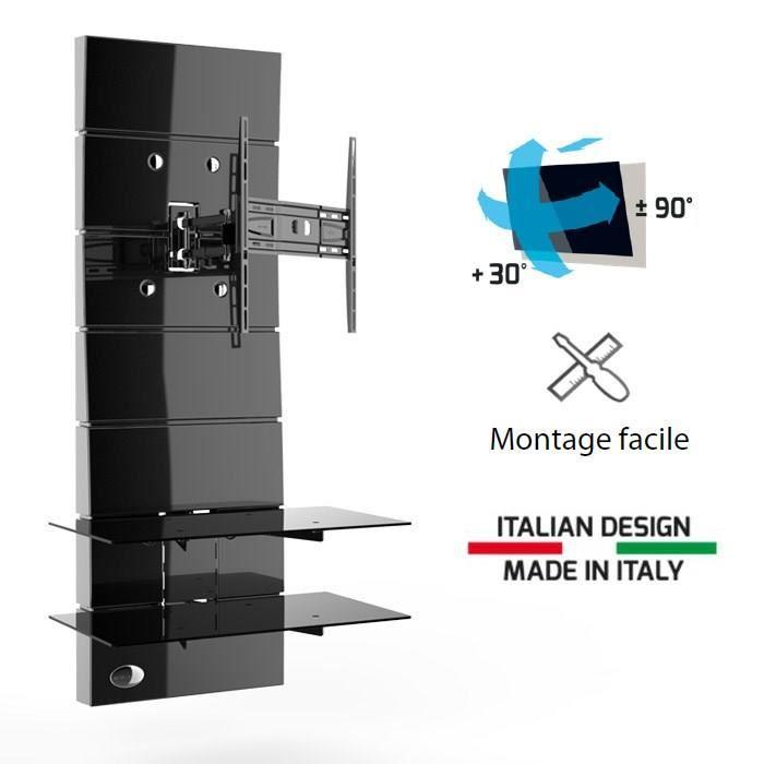 Ghost design 3000r noir meuble tv support orientable 32 a for Meuble tv meliconi