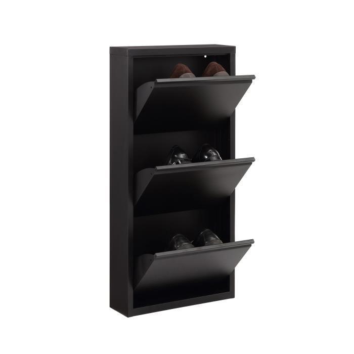 Aucune camden meuble a chaussures 50 cm noir laqu 336465 - Meuble chaussure noir laque ...