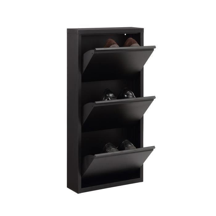 Aucune camden meuble a chaussures 50 cm noir laque 336465 - Meuble a chaussure laque noir ...