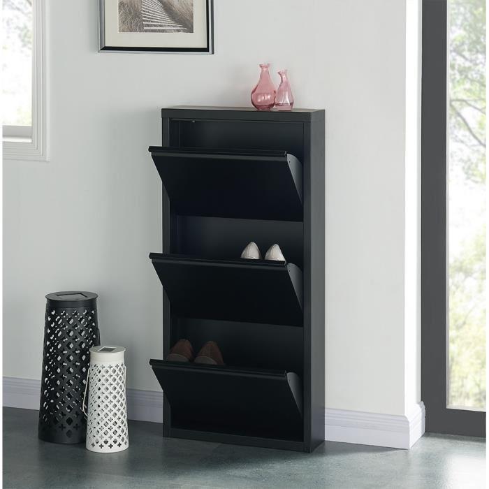 Aucune camden meuble a chaussures 50 cm noir laque 336465 for Meuble 50 cm