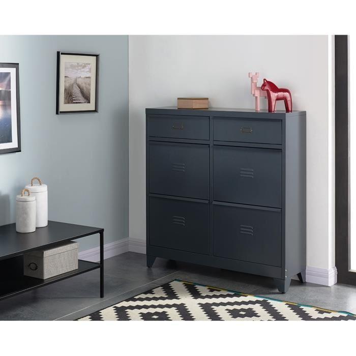 aucune camden meuble a chaussures en m tal 101 cm gris fonc 339662. Black Bedroom Furniture Sets. Home Design Ideas
