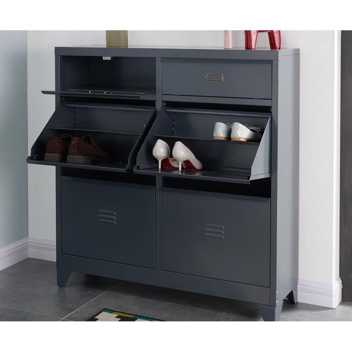 aucune camden meuble a chaussures en m tal 101 cm gris. Black Bedroom Furniture Sets. Home Design Ideas
